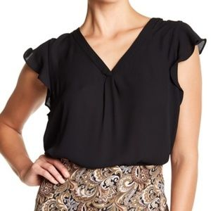 NWT Philosophy Apparel Solid Ruffle Sleeve Blouse
